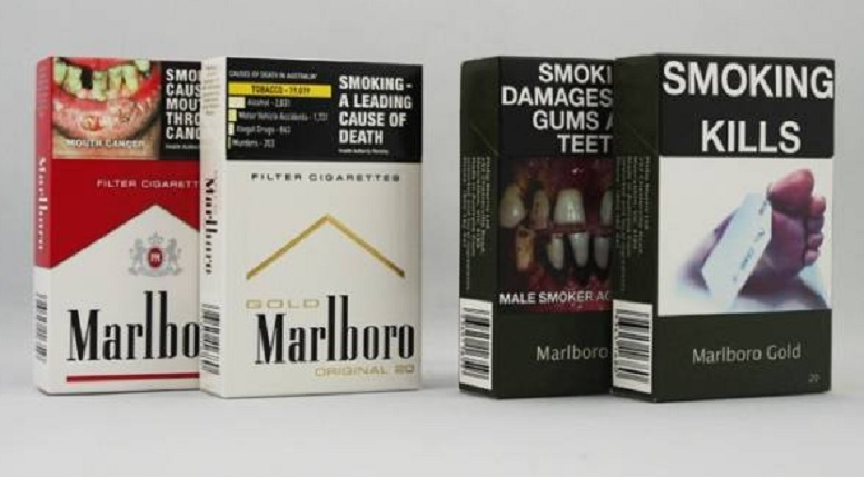 Australian cigarette packages before and after standardised plain packaging.