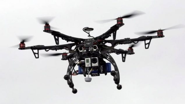 a photo of a larger commercial type drone with camera