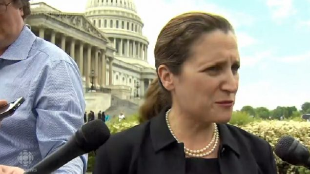 Canada's Foreign Minister Chrystia Freeland speaking about the JCPOA