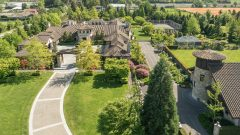 aerial view of mega house on former farmland, Richmond British Columbia