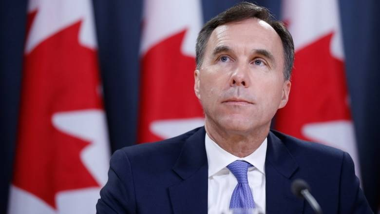 Canada's finance minister Bill Morneau at a press conference.