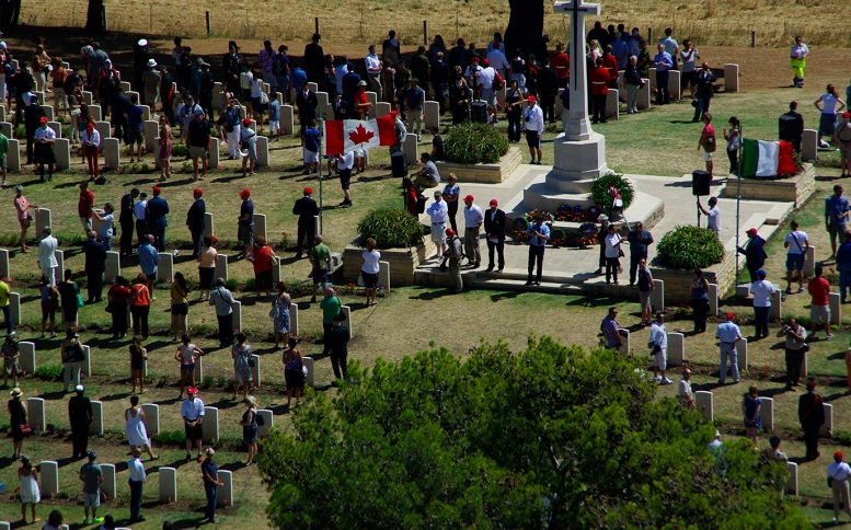 From an earlier Op Husky, an aerial shot of the Canadian War Graves ceremony at Agira where more than 750 gathered to perform a Roll-Call for the souls of those Canadians buried there. Courtesy of the Italian Carabinieri