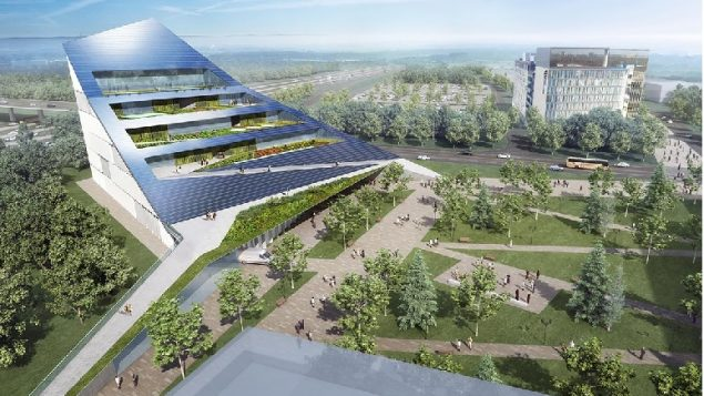 The proposed net-zero vertical farm at U of T Scarborough is part of a broader partnership between the university and Centennial College focused on advancing the cleantech sector (rendering courtesy of U of T Scarborough and Centennial College)