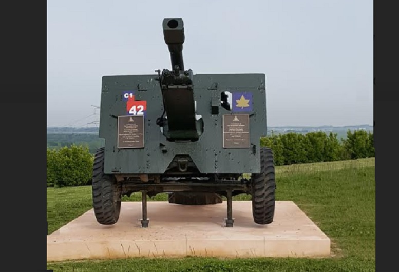 """The Canadian made QF 25pdr field piece marked to the 4th Field Regiment, """"C"""" Troop, gun, now in position overlooking Troteval Farm on Point 67. Found in Ireland it was purchased and restored thanks to generous private donations. it will be dedicated on June 8th"""