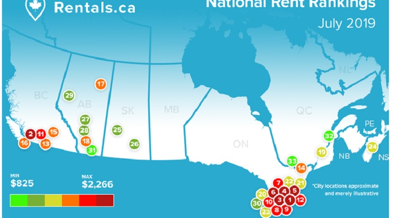 Map Of Canada Vancouver Toronto.Rental Costs Across Canada Prices Increase While Unit Size Decreases
