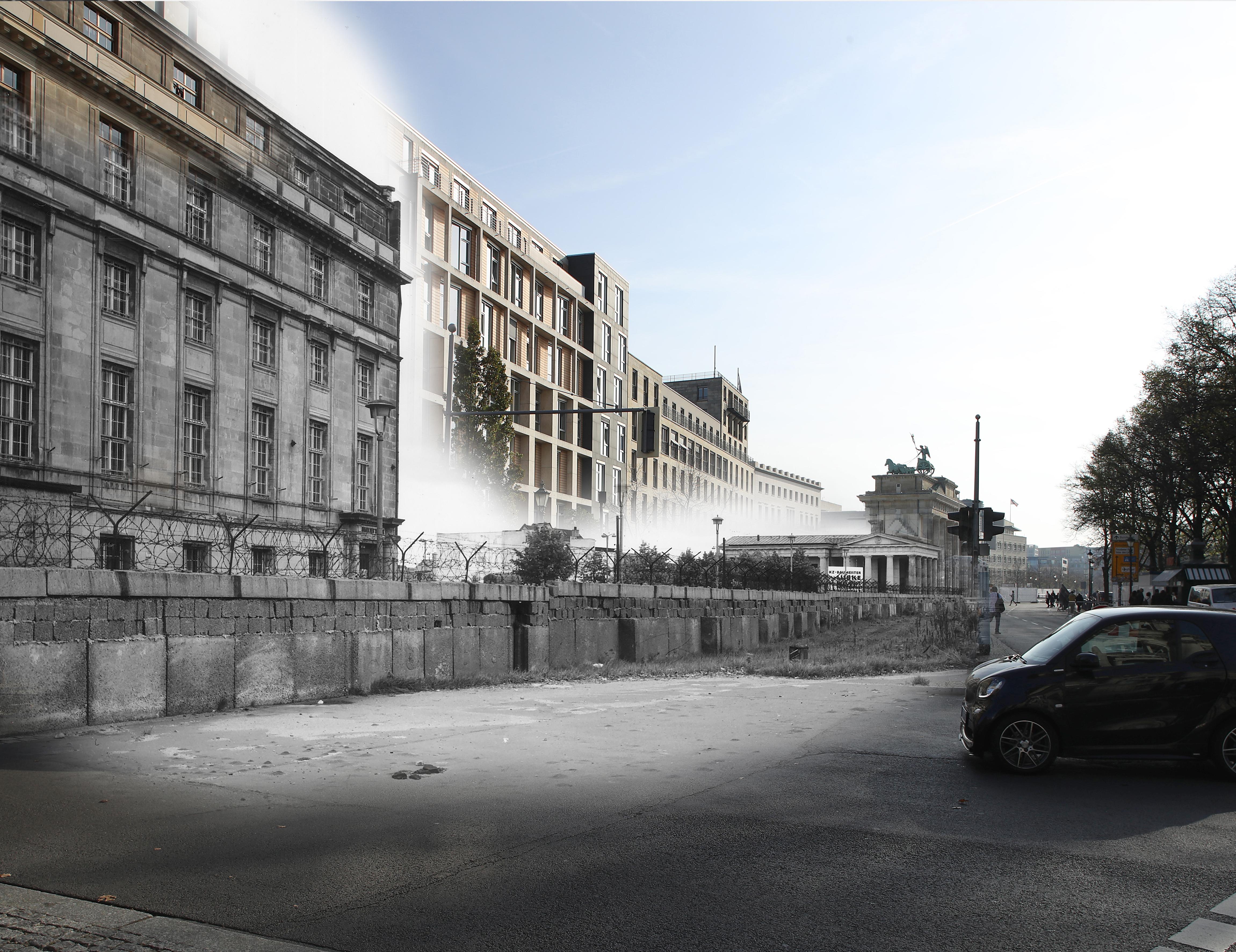 This digital composite image shows Scheidemannstrasse near the Brandenburg Gate in Berlin in 1966 (John Waterman/Fox Photos/Getty Images) and on October 23, 2019 (Sean Gallup).