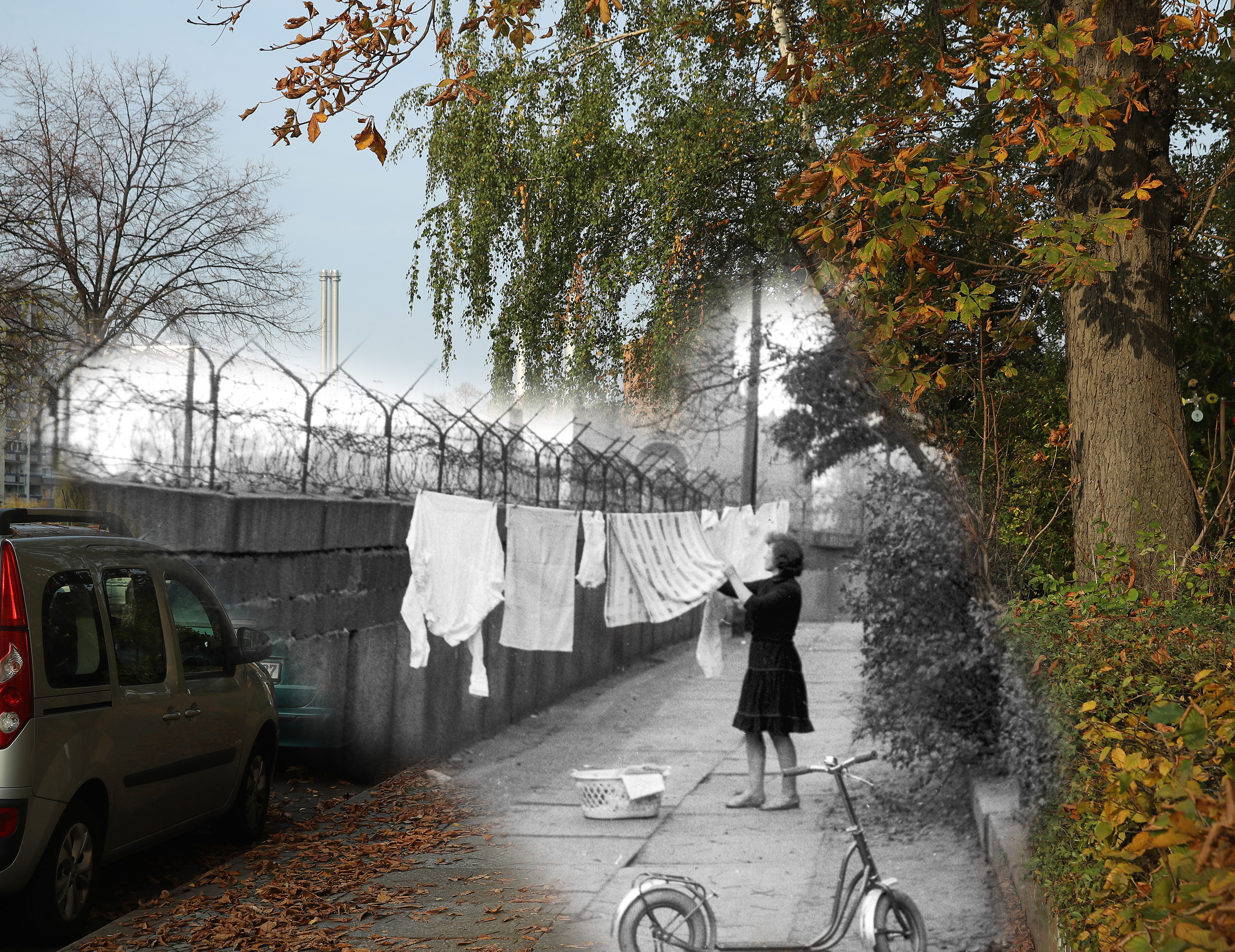 This digital composite image shows Leuschnerdamm street in Berlin in 1963 (Express Newspapers/Getty Images) and on October 23, 2019 (Sean Gallup).