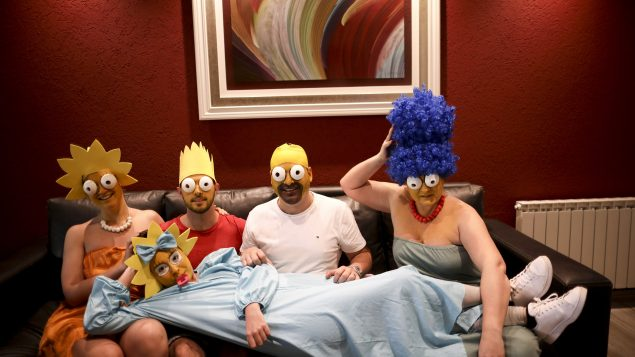 Arevalo-Robledo family, dressed as The Simpsons during lockdown in Buenos Aires