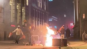 An anti-curfew demonstration turned violent in Montreal Sunday night