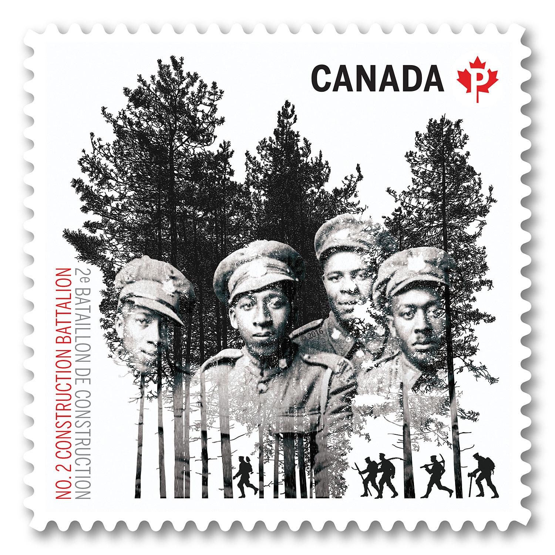 Timbre de Postes Canada en conmemoración del Centenario de la formación del 2o Batallón de la Construcción del Ejército Canadiense © Postes Canada