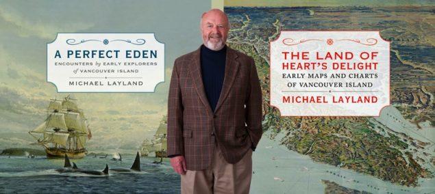 El historiador y cartógrafo canadiense Michael Layland y las portadas de sus dos libros | Touchwood Editions