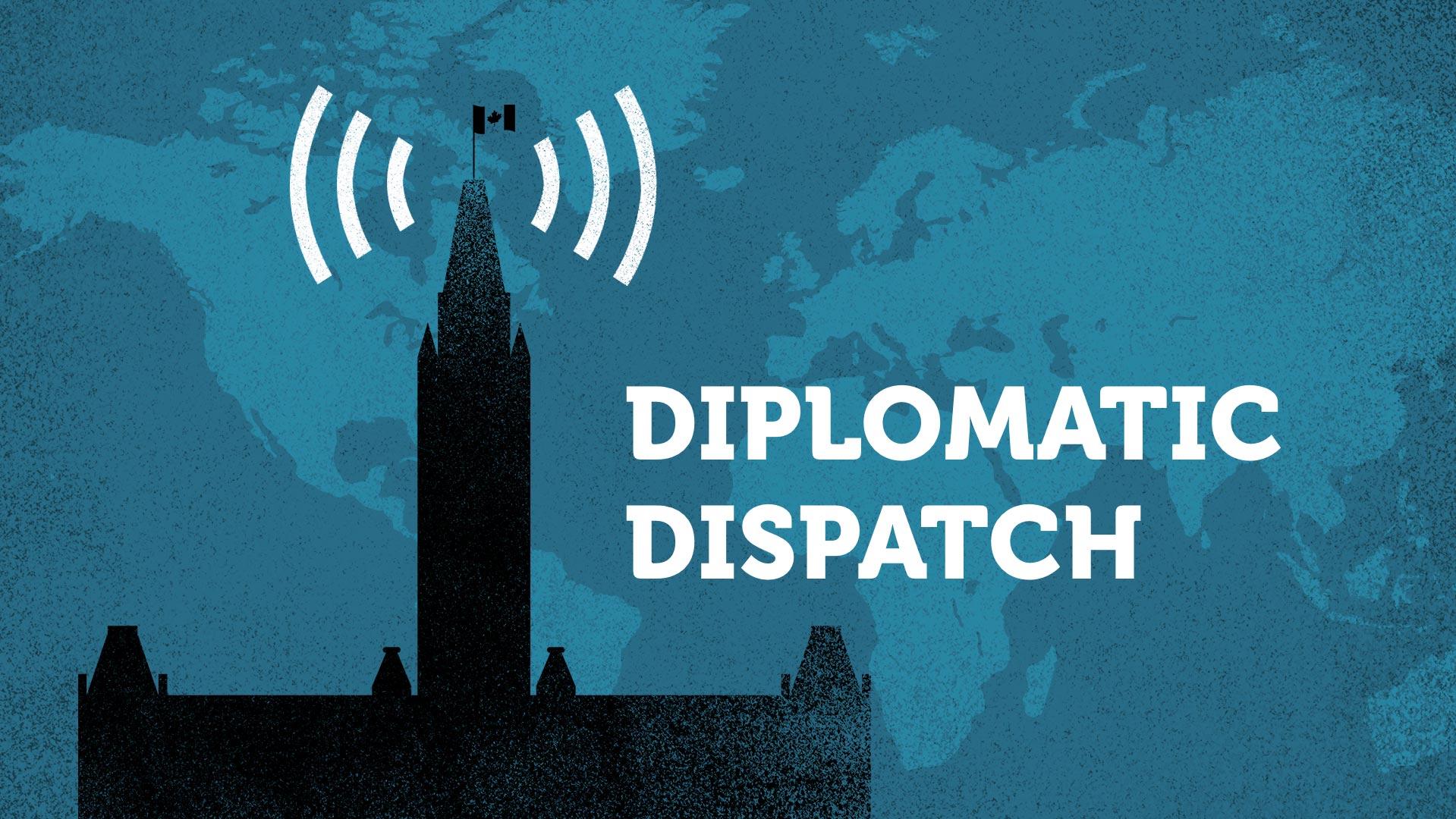 """el texto """"Despacho diplomático"""" en blanco acompañado por el Parlamento canadiense en silueta con el fondo del mapa de Canadá en dos tonos de azul"""