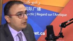 المحامي الاستاذ جورج جبوّري على ميكروفون القسم العربي لراديو كندا الدولي