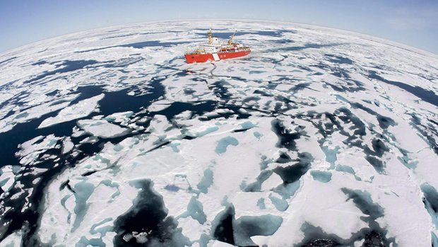 The Canadian Coast Guard icebreaker Louis S. St. Laurent makes its way through the ice in Baffin Bay. Photo: Jonathan Hayward/The Canadian Press