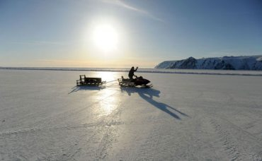 The sea ice landing strip at Little Diomede Island, located in the Bering Strait between Alaska and Russia. Photo: Stephen Nowers. Alaska Dispatch