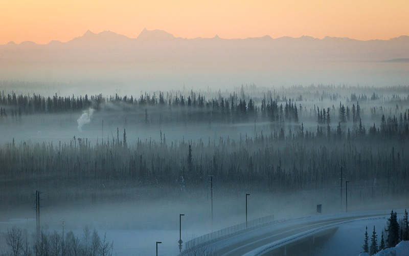 Dirty fog envelopes Fairbanks in the winter. alaskanent / flickr. Alaska Dispatch.