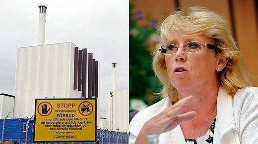 Forsmark nuclear power plant. Environmental minister Lena Ek. Photo: Scanpix. Montage: Swedish Radio
