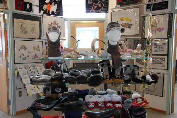 Gift shop at Ulukhaktok Arts Centre in Ulukhaktok, Northwest Territories featuring arts and crafts from locals. Arts and crafts like these bring millions into the territory says NWT's Department of Industry, Tourism and Investment. Photo: Eilís Quinn.