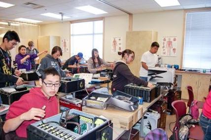 RANSEP students at Bethel's Yuut Elitnaurviat working on a computer build. Photo courtesy Yuut Elitnaurviat, Alaska Dispatch.