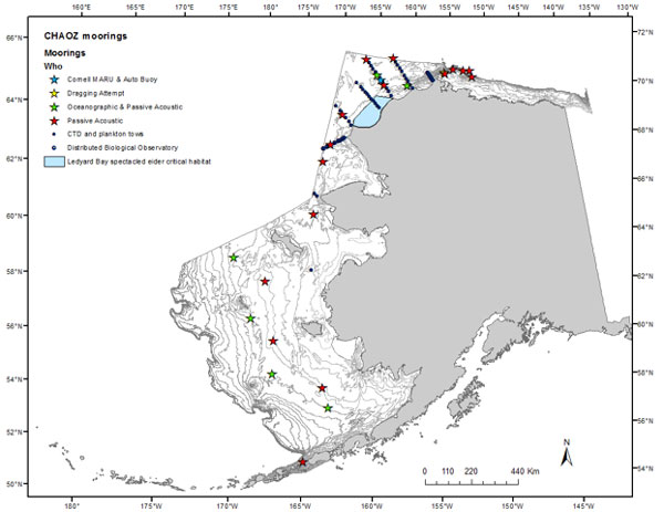 Deployment locations of recorders from the CHAOZ project. Image courtesy of NOAA Fisheries Service. Alaska Public Radio Network.