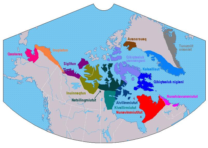 Map showing principal Inuit language dialect groups in the Arctic. Many linguists still disagree on the number of Inuit language dialects in the Arctic and how they the should be defined. Photo courtesy Wikimedia commons. Licensed under Creative Commons - Share Alike License.