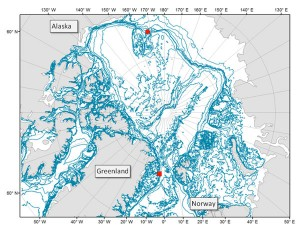 """Location of recorder deployments in the High Arctic during IPY. Image courtesy of the Polar publication: """"Comparing marine mammal acoustic habitats in Atlantic and Pacific sectors of the High Arctic: year-long records from Fram Strait and the Chukchi Plateau."""" alaskapublic.org"""