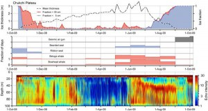 """Detections of marine mammals, with sea ice and zooplankton signal on the IPY Chukchi recorder. Image courtesy of the Polar publication: """"Comparing marine mammal acoustic habitats in Atlantic and Pacific sectors of the High Arctic: year-long records from Fram Strait and the Chukchi Plateau."""" alaskapublic.org"""