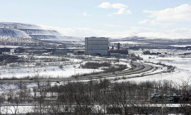 The headquarters of LKAB the state-owned mining company, stands next to the iron ore mine, in the town of Kiruna, 145 kilometres (90 miles) beyond the Arctic Circle in Swedish Lappland. Photo: Sven Nackstrand, AFP.