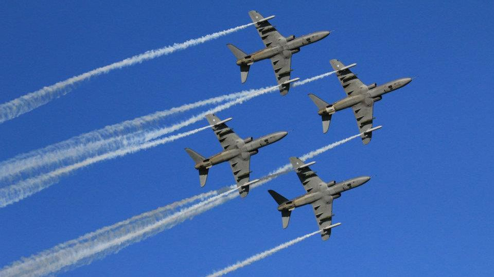 The Midnight Hawks, the aerobatic team of the Finnish Air Force. Image: Anssi Leppänen / Yle