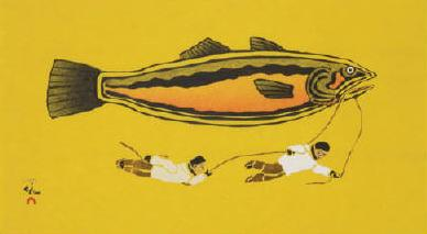 Fish Story by Kavavow Mannomee. Stonecut & Stencil. Image: Galerie Elca London Ltée.