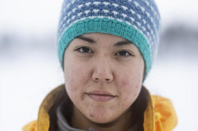Kiera-Dawn Kolson, an outreach campaigner for Greenpeace Canada, during North Pole Expedition training in Norway. (Christian Åslund / Greenpeace)