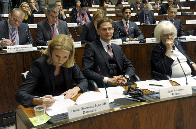 Denmark's Prime Minister Helle Thorning-Schmidt (front row L), Finland's Prime Minister Jyrki Katainen and Iceland's Prime Minister Johanna Sigurdardottir attend the Nordic Council's 64th Session in the Finnish Parliament in Helsinki. Nordic foreign ministers meet on October 31. AFP PHOTO/ LEHTIKUVA / Markku Ulander