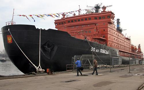 "Russian nuclear icebreaker ""50 Years of the Victory"". The country is now planning to build the world's biggest nuclear-powered icebreaker to be completed in 2017. Photo: AFP / INTERPRESS / ALEXANDER DROZDOV"