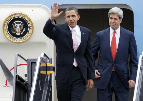 President Barack Obama and Sen. John Kerry, D-Mass. arrive at Logan International Airport in Boston, Friday, Oct. 23, 2009. (AP Photo/Michael Dwyer)