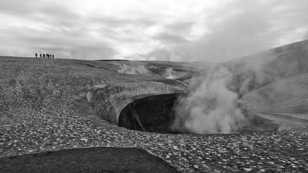 A hot spring melts the snow around it near Landmannalaugar. Image (c) Mia Bennett