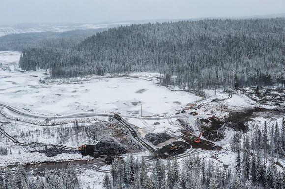 Dam-building work is underway on the south side of the Talvivaara mine area. Image: Talvivaara