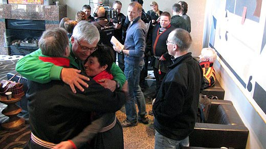Members of the Ran herders collective after the court decision, Photo: Ulrika Holmberg/Sveriges Radio.
