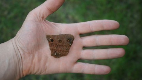 Pottery piece found at the dwelling site of a prehistoric tribe. Image: Sami Viljanmaa.