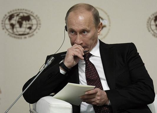 Russian Prime Minister Vladimir Putin attends an international Arctic conference in Moscow, Russia, Thursday, Sept. 23, 2010. (AP Photo/Mikhail Metzel)