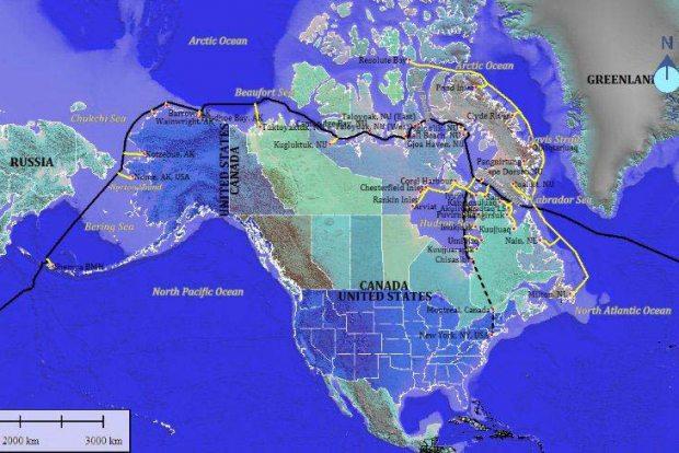 The conceivable Northwest Passage route of a fiber optic backbone that would revolutionize how Alaskans all along the coast access the Internet. Courtesy Arctic Fibre - Alaska Dispatch.