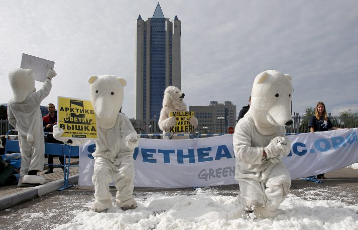 Greenpeace activists outside Gazprom's headquarters. AP Photo/Misha Japaridze.