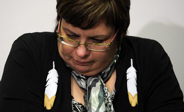 Attawapiskat chief Theresa Spence speaks during a press conference in Ottawa on Tuesday, December 6, 2011. Spence recently declared a state of emergency in her James Bay Cree community because a severe housing shortage left families facing winter in uninsulated shacks without running water. Photo: Sean Kilpatrick, The Canadian Press.