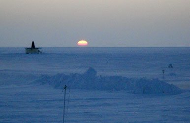 After a nearly two-month absence, the sun rose in Barrow -- northernmost town in the U.S. -- on Monday, Jan. 23, 2012. Gina Sturm photo. Alaska Dispatch.