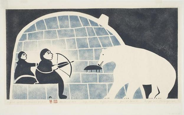 Legend of the Blind Man and the Bear by Cape Dorset artist Joseph Pootoogook (1959). The community of Cape Dorset, located in Canada's eastern Arctic Nunavut territory, is famous for its print program. Image courtesy of Dorset Fine Arts. CLICK TO VIEW FULL IMAGE
