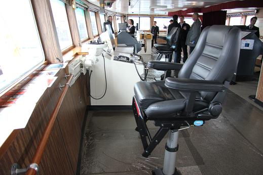 The captian's chair aboard the Amundsen. Photo: Eilís Quinn, Radio Canada International.