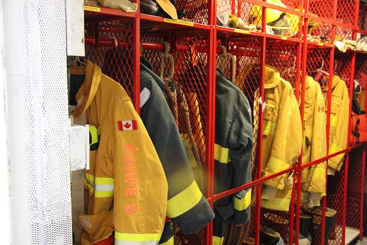 Fire gear on board the Amundsen. Photo: Eilís Quinn, Radio Canada International.