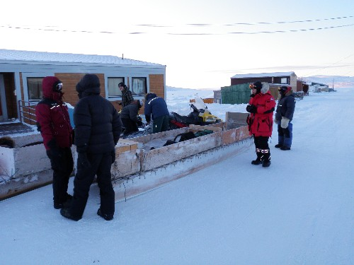 The 'Eye on the Arctic' team and local hunters leave for day-long seal hunt