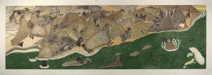 Drawing (2009-2010) by Kananginak Pootoogook. The artist had recently begun experimenting with large format drawings like this one. Image courtesy of Dorset Fine Arts.