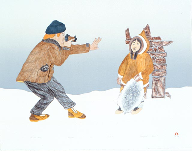The First Tourist (1992) by Kananginak Pootoogook. Image courtesy of Dorset Fine Arts.