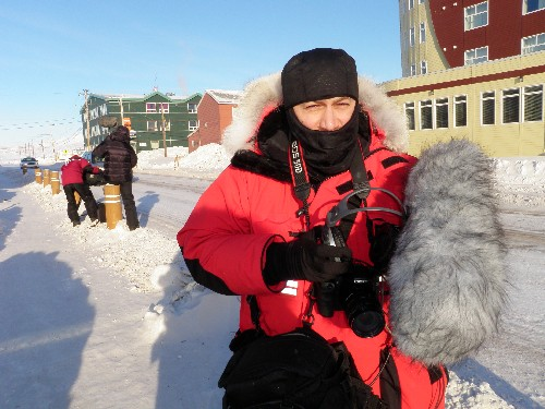 Eye on the Arctic team out shooting in Iqaluit Saturday morning. Photo by Eilis Quinn